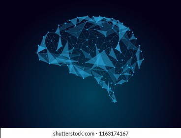 Brain concept in wires form with connecting dots, vector illustration