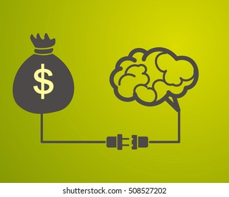 the brain is connected to a bag with money