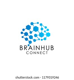 brain connection logo with hexagon. digital brain. brain hub logo design vector icon