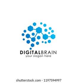 brain connection logo with hexagon. digital brain. brain hub logo design vector icon