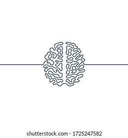 Brain continuous line icon. Mental health or medical design. Human nervous system. Vector illustration isolated on a white background.