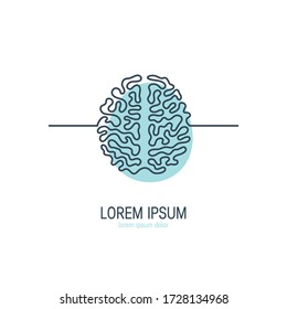 Brain continuous line icon. Template for psychotherapist, mental health clinics, neurologist. Vector illustration isolated on a white background.