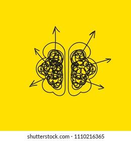 brain creating ideas, generating ideas, imagination and intelligence. Vector illustration