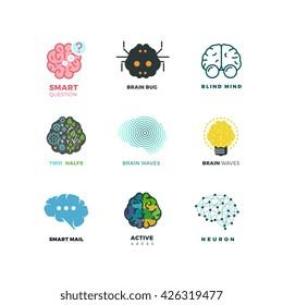 Brain, creation, invention, inspiration, idea vector icons. Inspiration brain logo and idea brain creation illustration