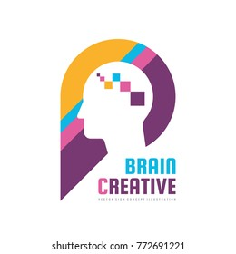 Brain creative - concept logo template vector illustration. Human head character sign. Abstract people face symbol. Graphic design element.