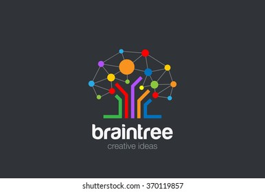 Brain Creative Ideas Logo design vector template. Brainstorming Social Logo Tree Network. Social Network Tree concept Logotype. Brainstorming icon