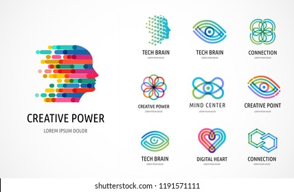 Brain, Creative mind, learning and design icons, logos. Man head, people symbols - stock vector