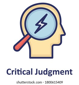 Brain, critical judgement outline with color fill inside Isolated Vector icon which can easily modify or edit