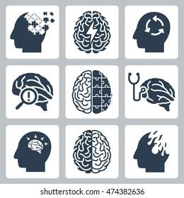 Brain degenerative diseases, memory loss related icon set