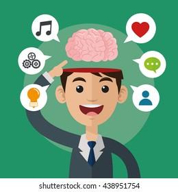 Brain design. organ icon. Flat illustration, vector graphic