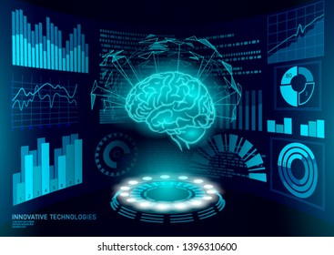 Brain diagnostic treatment low poly 3D HUD. Drug nootropic stimulant smart display. Medicine cognitive rehabilitation in Alzheimer disease and dementia doctor online vector illustration
