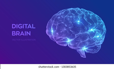 Brain. Digital brain. 3D Science and Technology concept. Neural network. IQ testing, artificial intelligence virtual emulation science technology. Brainstorm think idea. Vector illustration.