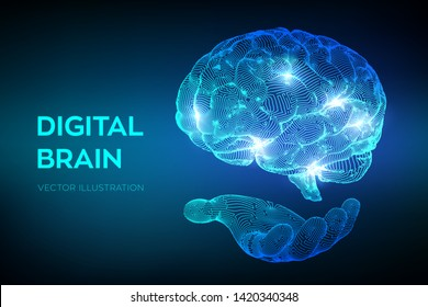 Brain. Digital brain in hand. 3D Science and Technology concept. Neural network. IQ testing, artificial intelligence virtual emulation science technology. Brainstorm think idea. Vector illustration.