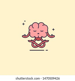 Brain doing yoga. Meditation for clear mind. Brain in lotus pose. Exercise for creativity. Concept of clear mind and concentration.
