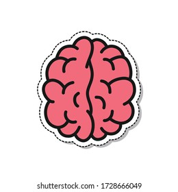 brain doodle icon, vector illustration