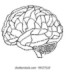 brain in dots style