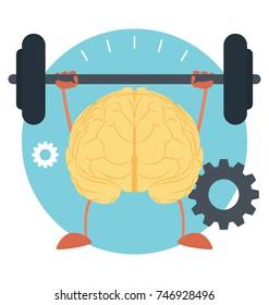 Brain dumbbells, creative concept, intellectual training illustration