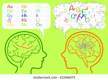 The brain of a dyslexic boy is puzzled and confused about letters. Vector illustration.