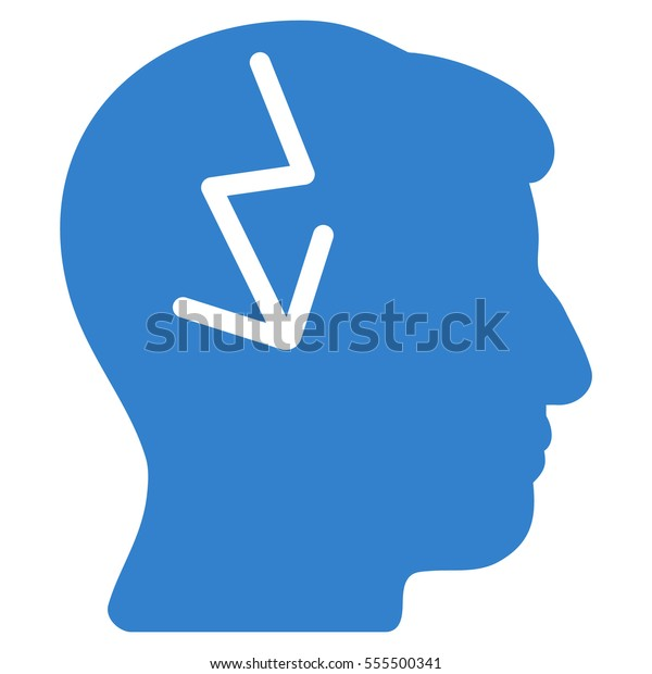 Brain Electric Strike Vector Pictograph Style Stock Vector