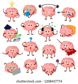Brain emotion vector cartoon brainy character expression emoticon and intelligence emoji studying illustration brainstorming set of businessman or superman kawaii isolated on white background