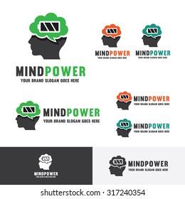 Brain Energy. Brain battery. Human head idea fuel. Mind power. Strong Idea company identity. Smart brain school logo.