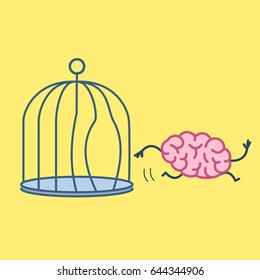 Brain escaping out of the bird cage. Vector concept illustration of enlightenment mind running out of the prison | flat design linear infographic icon on yellow background