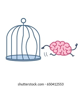 Brain escaping out of the bird cage. Vector concept illustration of enlightenment mind running out of the prison | flat design linear infographic icon colorful on white background