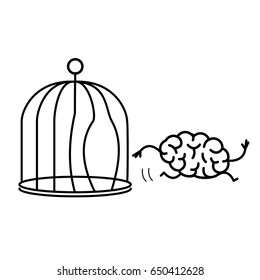 Brain escaping out of the bird cage. Vector concept illustration of enlightenment mind running out of the prison | flat design linear infographic icon black on white background