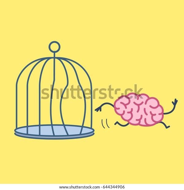 Le cerveau s'échappant de la cage à oiseaux. Concept vectoriel illustration de l'esprit des lumières qui sort de la prison| icône à plat d'infographie linéaire sur fond jaune