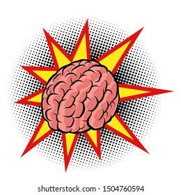 brain explosion. the intelligence of the human mind. Comic cartoon pop art retro vector drawing illustration