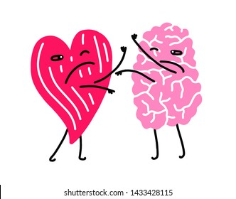 Brain fighting heart. Vector illustration with simple flat trendy colors.