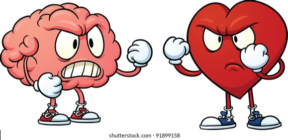 Brain fighting heart. Vector illustration with simple gradients. Each in a separate layer for easy editing.