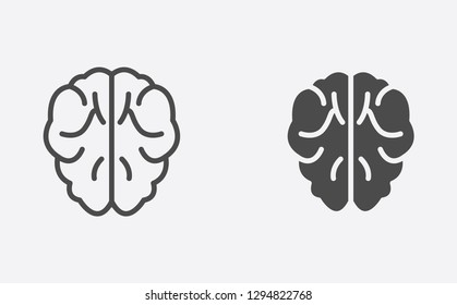 Brain filled and outline vector icon sign symbol