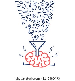 Brain filling informations with funnel. Vector concept illustration of education and information absorbing | flat design linear infographic icon red and blue on white background