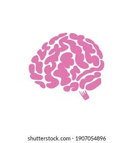 brain flat illustration, vector logo, icon, red
