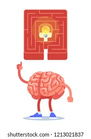 brain found a way out, eureka. Modern flat style thin line vector illustration.
