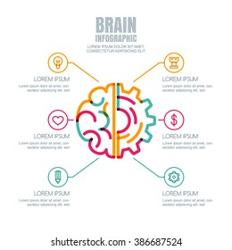 Brain and gear cog, vector infographics design. Abstract flat style illustration. Concept for business, brainstorming, high technology, development, innovation, creativity