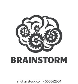 Brain and gear icon, brainstorm concept.