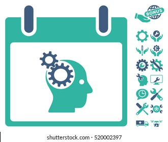 Brain Gears Calendar Day pictograph with bonus configuration symbols. Vector illustration style is flat iconic symbols, cobalt and cyan, white background.