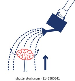 Brain growing up. Vector concept illustration hand watering mind with can | flat design linear infographic icon red and blue on white background