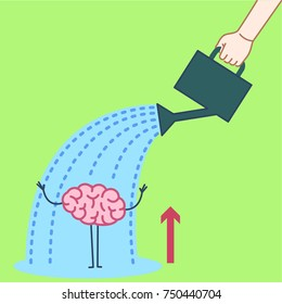 Brain growing up. Vector concept illustration hand watering mind with can | flat design linear infographic icon on green background