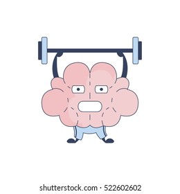 Brain In Gym Doing Weight Lifting Comic Character Representing Intellect And Intellectual Activities Of Human Mind Cartoon Flat Vector Illustration