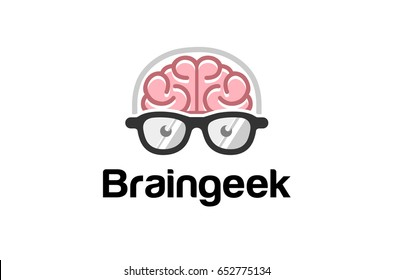 Brain Head Geek Logo Symbol Design Illustration