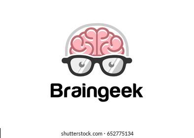 Brain Head Geek Logo Symbol Design Illustration
