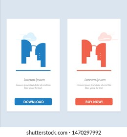 Brain, Head, Mind, Transfer  Blue and Red Download and Buy Now web Widget Card Template. Vector Icon Template background