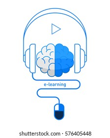 Brain with headphones and mouse in flat design, online learning / e-learning concept