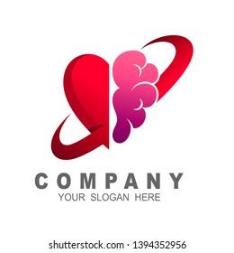 Brain healthy and anatomy logo vector, abstract brain logo, love and brain icon
