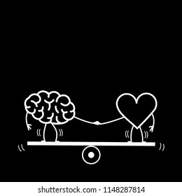 Brain and heart balancing on swing. Vector concept illustration of balance between mind and feelings| flat design linear infographic icon white on black background