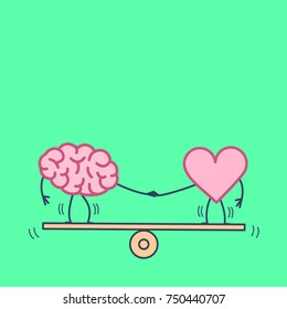 Brain and heart balancing. Vector concept illustration of balance between mind and feelings| flat design linear infographic icon on green background