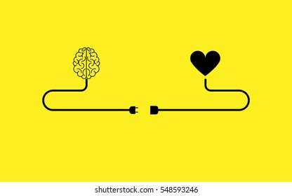 brain and heart concept  icon Vector.